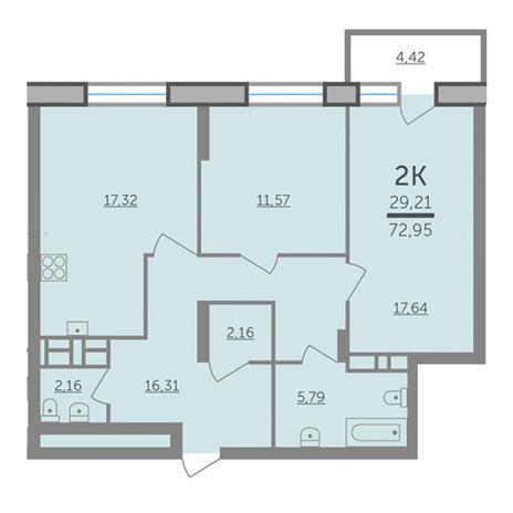 Вариант №2985, 3-комнатная квартира в жилом комплексе