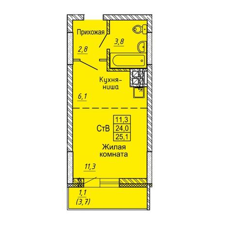 Вариант №5644, 1-комнатная квартира в жилом комплексе