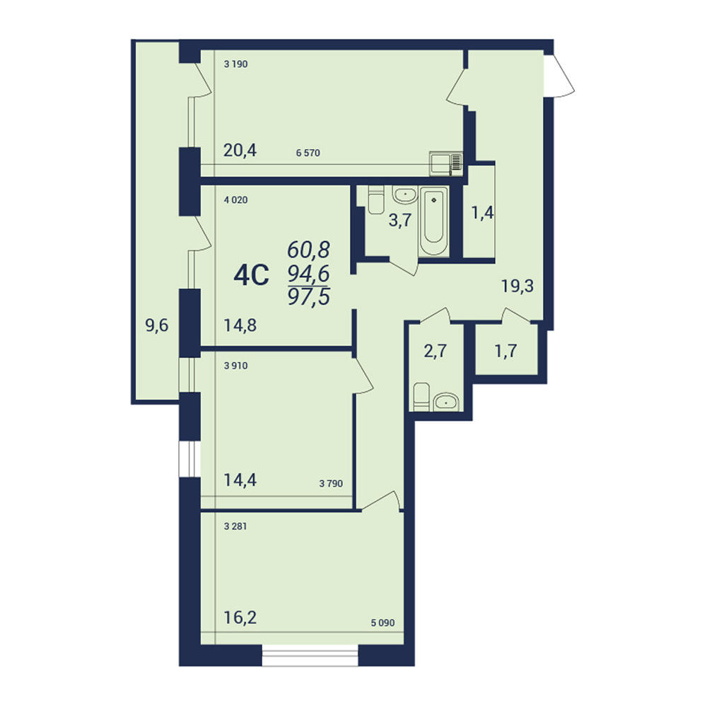 Планировка 4-комн. студия площадью 97.5 м<sup>2</sup> в ЖК NOVA-дом