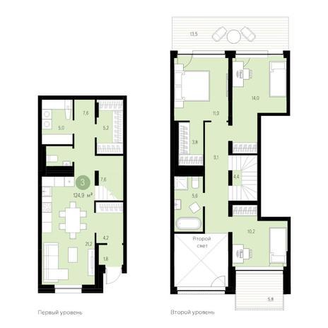 Вариант №4725, 4-комнатная квартира в жилом комплексе Европейский Берег