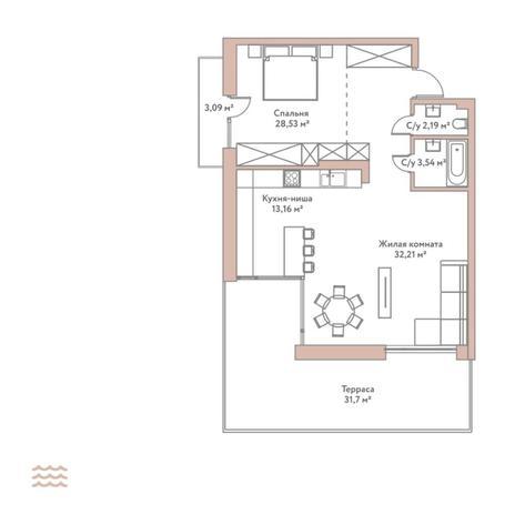 Вариант №5789, 2-комнатная квартира в жилом комплексе