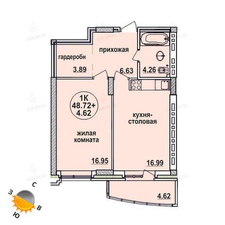 Вариант №630, 1-комнатная квартира в жилом комплексе Заельцовский