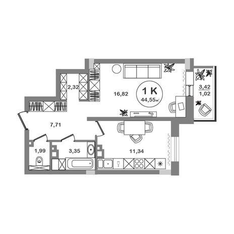 Вариант №5202, 1-комнатная квартира в жилом комплексе Ясный берег