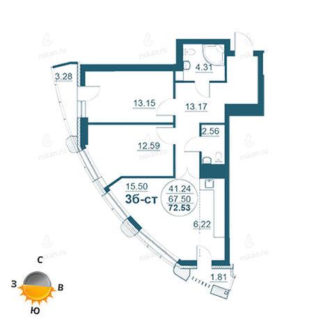 Вариант №958, 3-комнатная квартира в жилом комплексе Флотилия