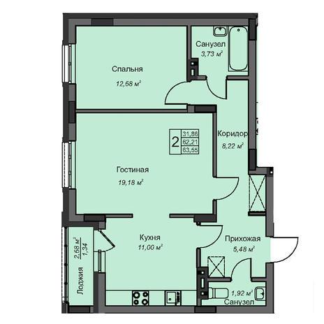 Вариант №3086, 2-комнатная квартира в жилом комплексе На Народной