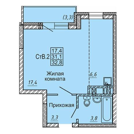 Вариант №4122, 1-комнатная квартира в жилом комплексе Новые Матрешки