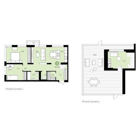 Вариант №5539, 4-комнатная квартира в жилом комплексе