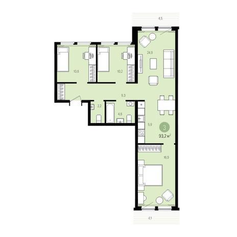 Вариант №5012, 4-комнатная квартира в жилом комплексе Пшеница