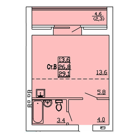 Вариант №4008, 1-комнатная квартира в жилом комплексе
