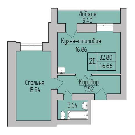 Вариант №5356, 2-комнатная квартира в жилом комплексе