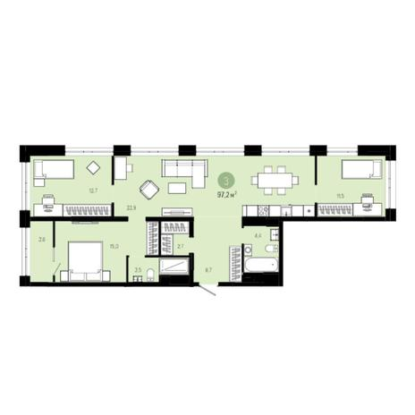 Вариант №6033, 4-комнатная квартира в жилом комплексе