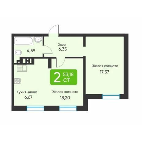 Вариант №5887, 2-комнатная квартира в жилом комплексе