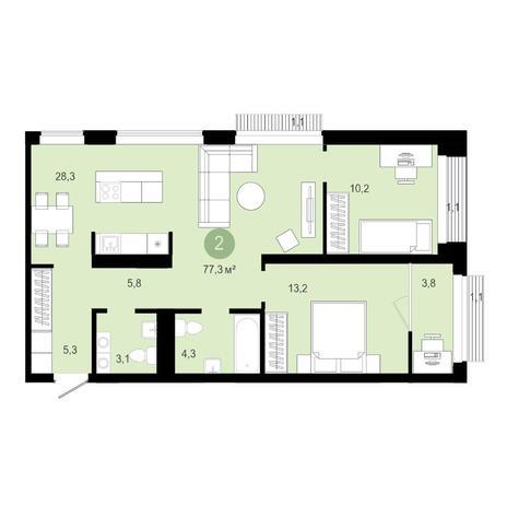 Вариант №4591, 3-комнатная квартира в жилом комплексе Европейский Берег