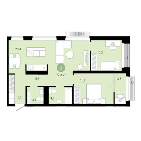 Вариант №4591, 3-комнатная квартира в жилом комплексе