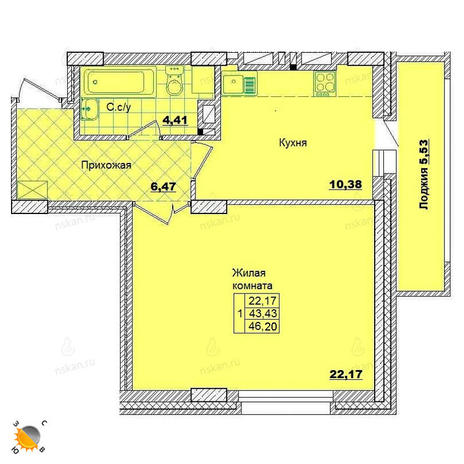 Вариант №2009, 1-комнатная квартира в жилом комплексе
