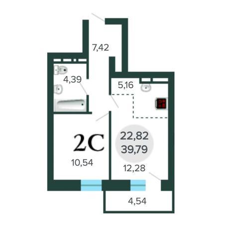 Вариант №5633, 2-комнатная квартира в жилом комплексе Радуга Сибири