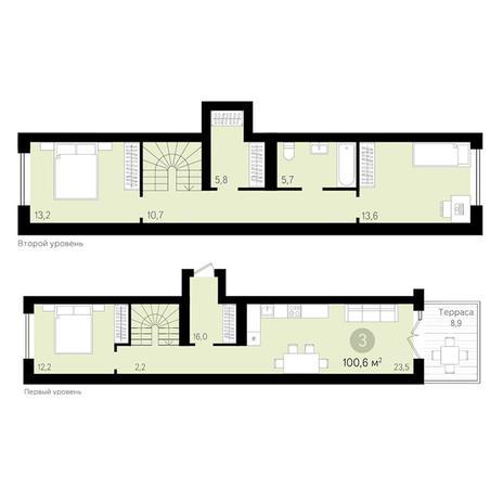 Вариант №3430, 3-комнатная квартира в жилом комплексе
