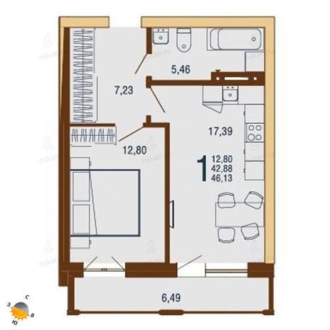 Вариант №1819, 2-комнатная квартира в жилом комплексе На Доватора