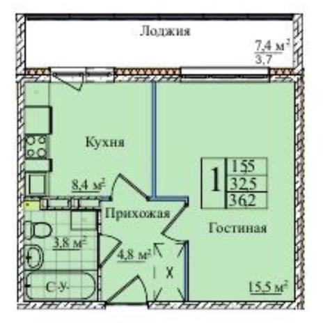 Вариант №5841, 1-комнатная квартира в жилом комплексе