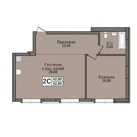 Вариант №6050, 2-комнатная квартира в жилом комплексе
