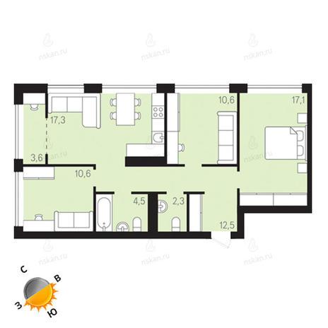 Вариант №1303, 4-комнатная квартира в жилом комплексе Европейский Берег