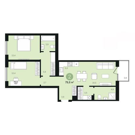 Вариант №6377, 3-комнатная квартира в жилом комплексе