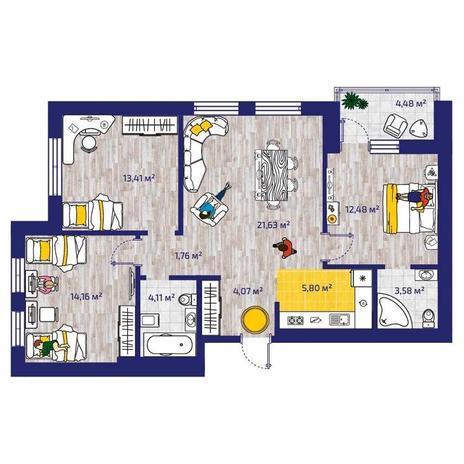 Вариант №4372, 4-комнатная квартира в жилом комплексе Новые Снегири
