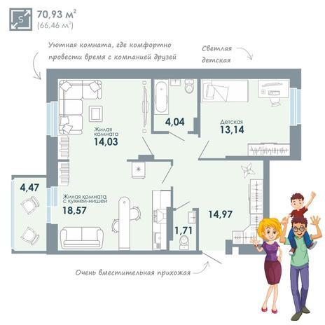 Вариант №2093, 3-комнатная квартира в жилом комплексе Чистая Слобода
