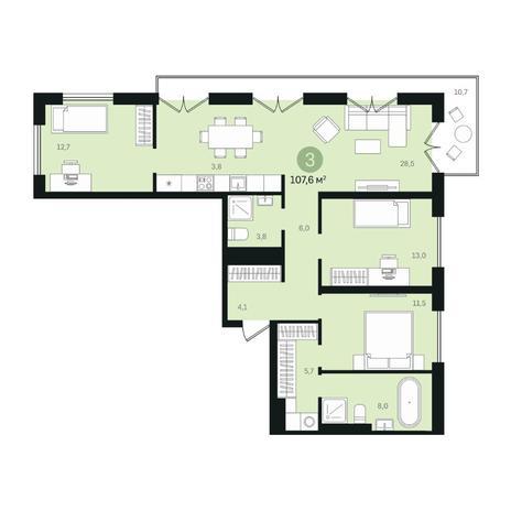 Вариант №6374, 4-комнатная квартира в жилом комплексе