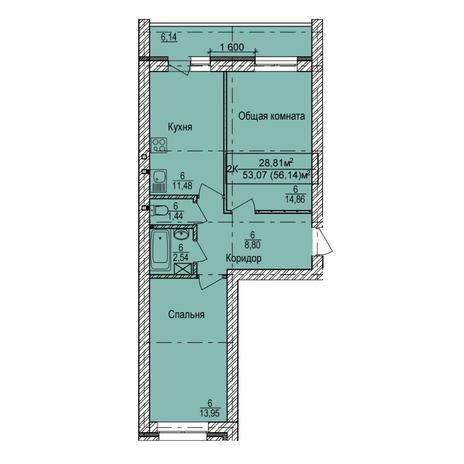 Вариант №5400, 2-комнатная квартира в жилом комплексе NOVA-дом