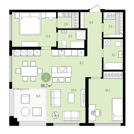 Вариант №5512, 3-комнатная квартира в жилом комплексе