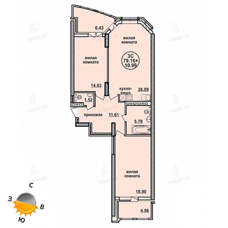 Планировка 3-комн. студия площадью 79.16 м<sup>2</sup> в ЖК Заельцовский