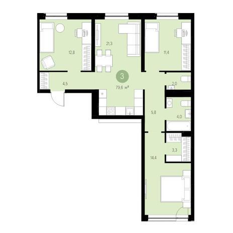 Вариант №4668, 4-комнатная квартира в жилом комплексе Европейский Берег