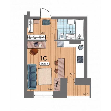 Вариант №6573, 1-комнатная квартира в жилом комплексе