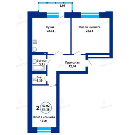 Вариант №1671, 3-комнатная квартира в жилом комплексе