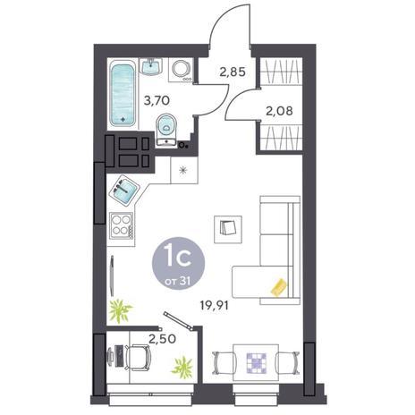 Вариант №5429, 1-комнатная квартира в жилом комплексе