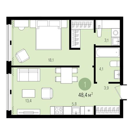 Вариант №4995, 2-комнатная квартира в жилом комплексе Новые Снегири