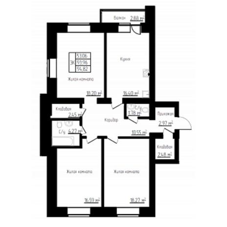 Вариант №4520, 3-комнатная квартира в жилом комплексе