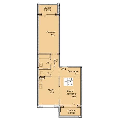 Вариант №6468, 2-комнатная квартира в жилом комплексе