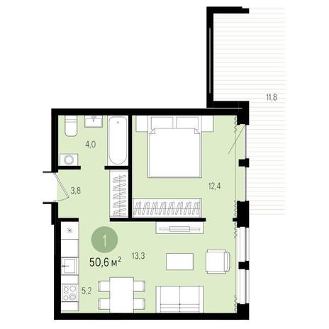 Вариант №4964, 2-комнатная квартира в жилом комплексе Ясный берег