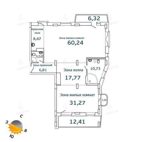 Вариант №1072, 3-комнатная квартира в жилом комплексе Тайм (Time)