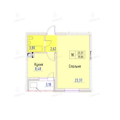 Вариант №947, 1-комнатная квартира в жилом комплексе Беркут хаус