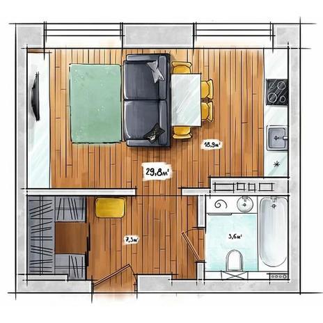 Вариант №3944, 1-комнатная квартира в жилом комплексе БонАпарт
