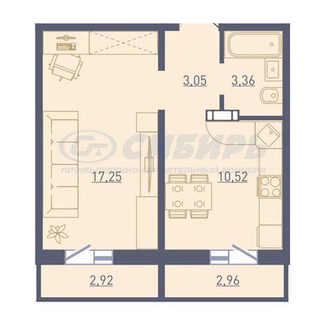 Вариант №3740, 1-комнатная квартира в жилом комплексе Акварельный 3.0
