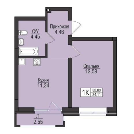 Вариант №5095, 1-комнатная квартира в жилом комплексе