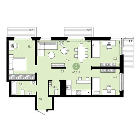 Вариант №4089, 4-комнатная квартира в жилом комплексе Европейский Берег