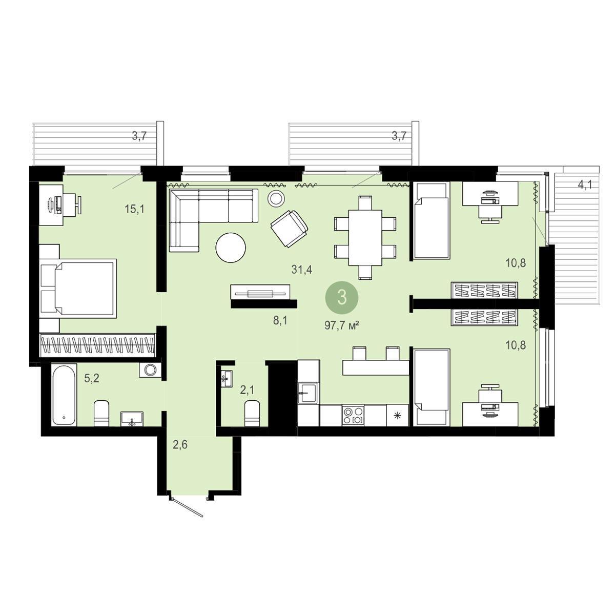 Планировка 4-комнатная площадью 97.7 м<sup>2</sup> в ЖК Европейский Берег