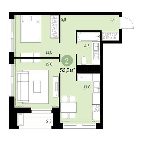 Вариант №6318, 2-комнатная квартира в жилом комплексе