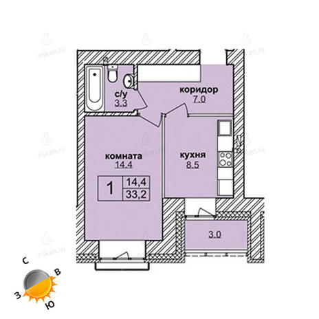 Вариант №1620, 1-комнатная квартира в жилом комплексе