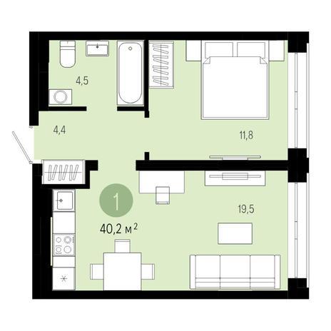 Вариант №4803, 2-комнатная квартира в жилом комплексе Европейский Берег